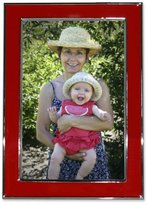 Lawrence Frames Silver Plated 5 by 7 Metal with Red Enamel Picture Frame