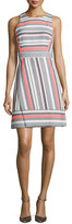 Kate Spade Sleeveless Jewel-Neck Striped Dress, Surprise Coral