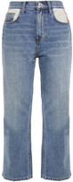 Thumbnail for your product : Current/Elliott The 5-pocket Vanessa Cropped Canvas-trimmed High-rise Straight-leg Jeans