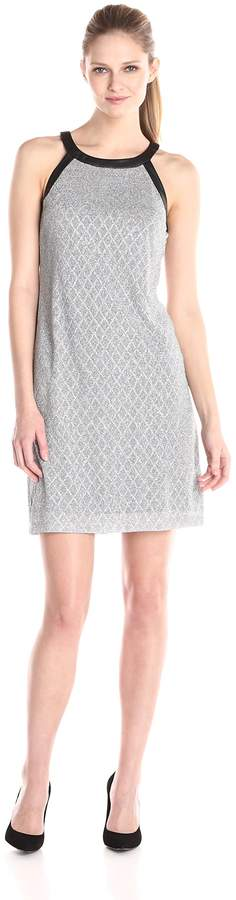 Nine West Women's Sleeveless Disco Diamond Printed Shift Dress