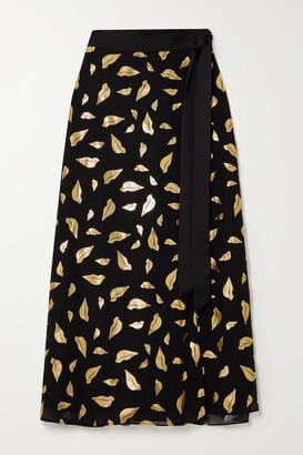 Diane von Furstenberg Nalani Satin-trimmed Metallic Printed Chiffon Wrap Midi Skirt