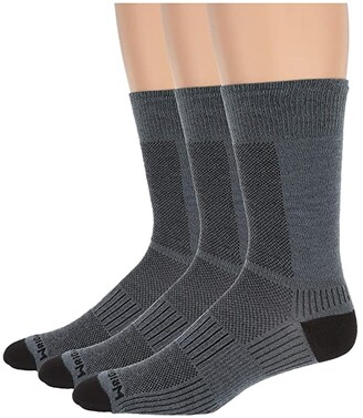 Wrightsock Coolmesh II Crew 3-Pair Pack (Grey) Crew Cut Socks Shoes