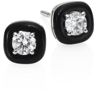 Nikos Koulis Oui Diamond & Enamel Stud Earrings