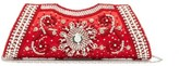 Shrimps Dallas Crystal, Faux-pearl And Beaded Satin Clutch - Womens - Red