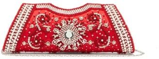 Shrimps Dallas Crystal, Faux-pearl And Beaded Satin Clutch - Red