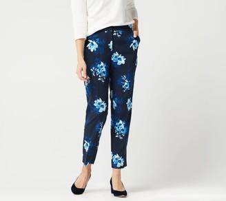 Susan Graver Petite Stretch Woven Zip-Front Ankle Pants