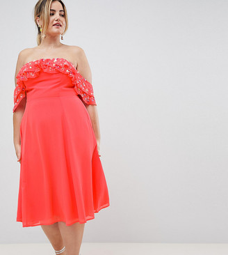 Asos DESIGN Curve bardot midi dress with embellished frill top-Pink