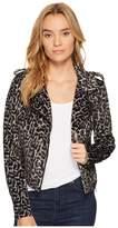 Romeo & Juliet Couture Leopard Print Moto Jacket