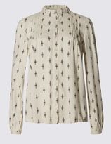Marks and Spencer Diamond Print High Neck 3/4 Sleeve Blouse