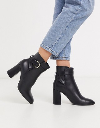 Pimkie buckle detail heeled boots in black
