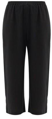 eskandar Cropped Linen Trousers - Black