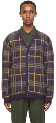 Needles Purple and Yellow Mohair Check Cardigan