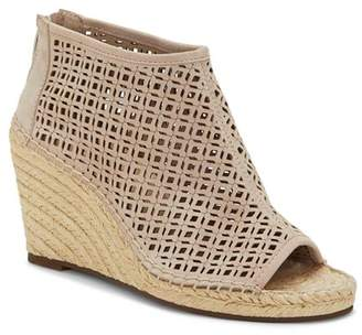 Vince Camuto Women's Lereena Caged Leather Peep Toe Espadrille Wedge Sandals