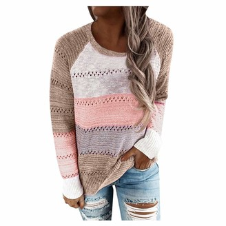 Vecdy Women Clothing VECDY Sweater for Women Hoodie Jumper Pullover Ladies Fashion Plus Size Long Sleeve Stripe Sweatshirt Top