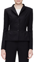 Carolina Herrera Stand-Collar Peplum Jacket, Black