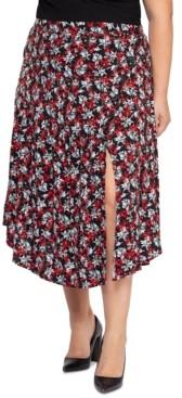 Black Tape Plus Size Printed Midi Skirt