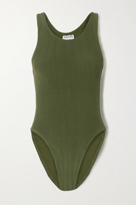 Hunza G Iris Ribbed Seersucker Swimsuit - Army green