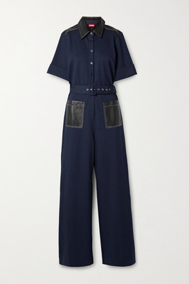STAUD Davey Belted Faux Leather-trimmed Stretch-jersey Jumpsuit - Midnight blue