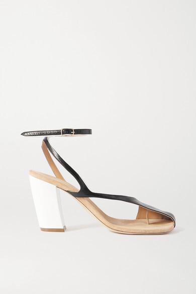 Thumbnail for your product : Dries Van Noten Donna Cutout Color-block Leather Sandals - Black