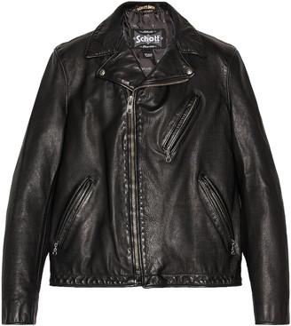 Schott Hand Vintaged Cowhide Clean Motorcycle Jacket in Black | FWRD