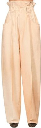 Fendi High Waist Cotton Gabardine Cargo Pants