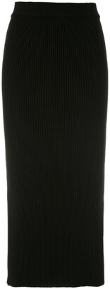 Martha Medeiros Ribbed Knit Midi Skirt