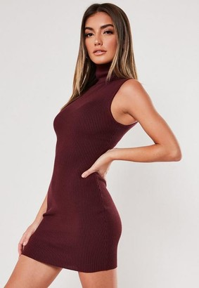 Missguided Burgundy Turtle Neck Knit Mini Dress