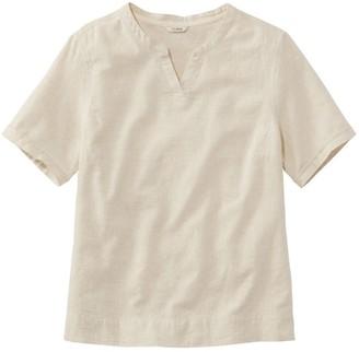L.L. Bean Women's Textured Linen/Cotton Shirt, Short-Sleeve Stripe