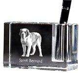 ArtDog Ltd. Saint Bernard, crystal pen holder with dog, desk accessory, Porte-crayons de cristal avec un chien, accessoire de bureau