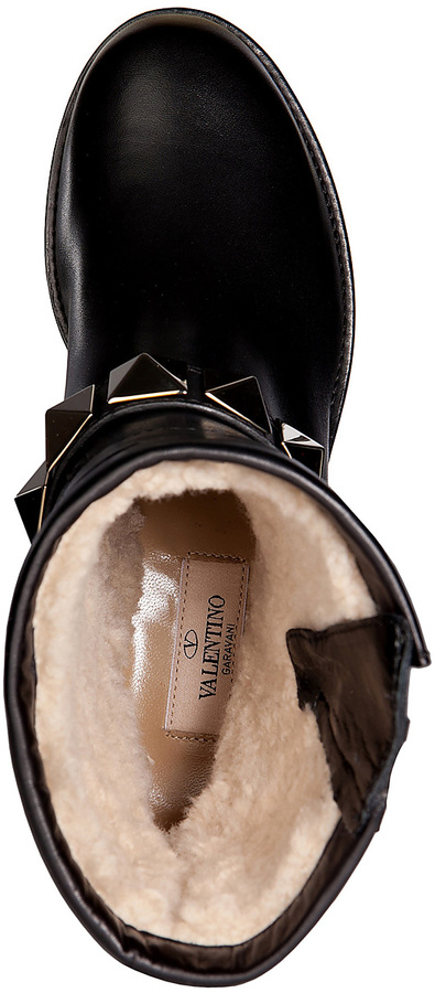 Valentino Leather Ankle Boots in Black
