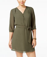 Amy Byer Juniors' Zip-Front Belted A-Line Dress