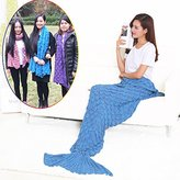 Lxiang Warm Mermaid Tail Blanket Crochet,Handmade Mermaid Blanket for Adult ,Super Soft Comfortable Suitable for All Seasons Sleeping,Reading,Watching, Working,Sofa Blankets (Blue)
