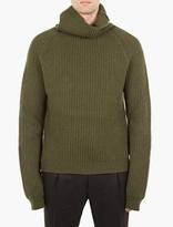 Haider Ackermann Green Shawl-neck Wool Sweater
