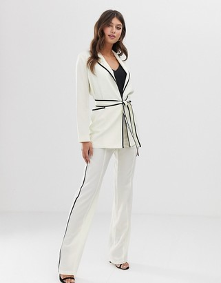 Paper Dolls wide leg trouser with contrast piping-White