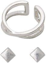 Pilgrim Pilgrim...Center Cross Design Ear Cuff & Stud Earring Set...Cuff Diameter: 1cm...Earring Length: 0.25cm...