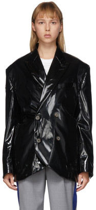 ADER error Black Coated Double-Breasted Blazer