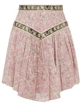 Etoile Isabel Marant Valerie Floral-print Cotton Skirt - Womens - Pink Multi