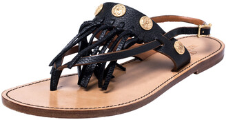 Valentino Black Leather Fringed Coin Detail Thong Flat Sandals Size 39