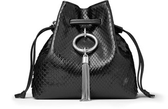Jimmy Choo CALLIE DRAWSTRING/S Black Python Bucket Bag with Chain Strap