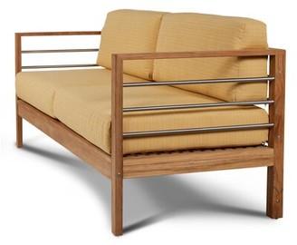 Bendel Teak Patio Sofa with Sunbrella Cushions Rosecliff Heights