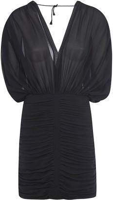 Saint Laurent V-neck Fitted Waist Mid-length Dress