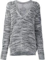 Raquel Allegra distressed V-neck jumper - women - Merino/Nylon - 0