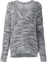 Raquel Allegra distressed V-neck jumper - women - Nylon/Merino - 0