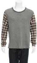 Dries Van Noten Plaid Contrast Scoop Neck T-Shirt