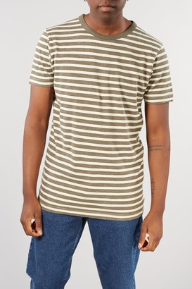 Selected GREEN NEPP STRIPE BJORN O NECK TEE - XLARGE