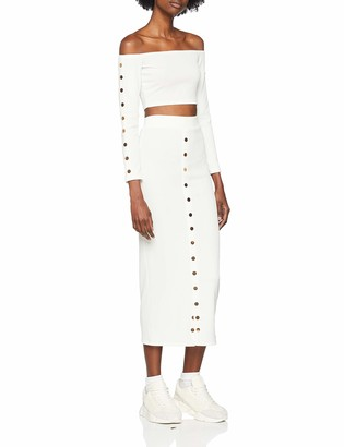 NEON COCO Women's Co-ords Bodycon Skirt Off Shoulder Long Sleeve Crop Top Party Dress
