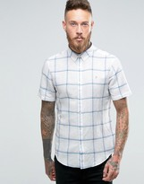 Farah Shirt In Slim Fit With Window Pane Check Short Sleeves