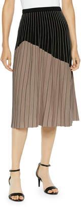 Misook Two-Tone Crystal Pleated A-Line Midi Skirt