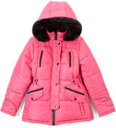 KC Collections Watermelon Faux Fur-Accent Hooded Puffer Coat - Girls