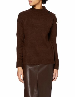 Dorothy Perkins Women's Chocolate Button Shoulder Jumper Pullover Sweater 14